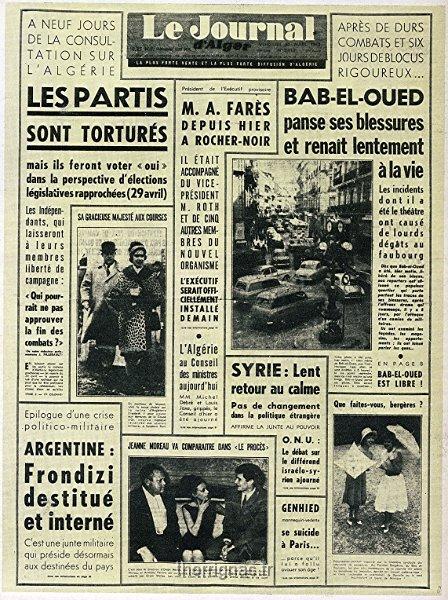 Algerie ma memoire albumjournaux journal alger le journal d alger 30 mars 1962 - Le journal d eyragues ...